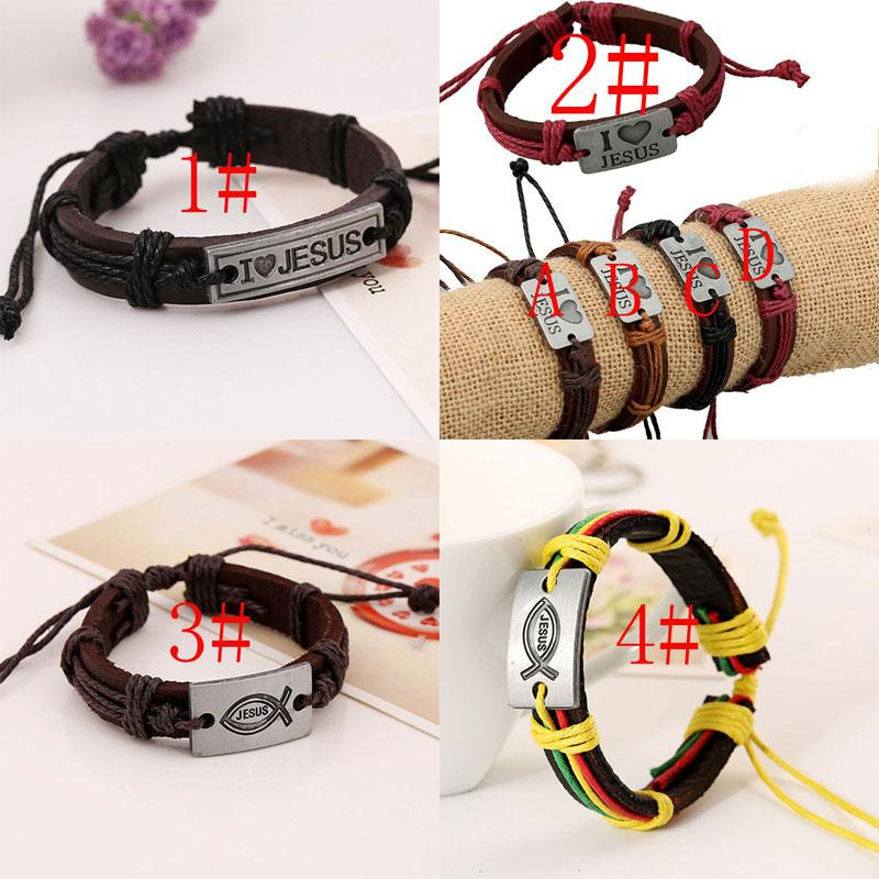 direct selling fashion christian retro leather bracelet i