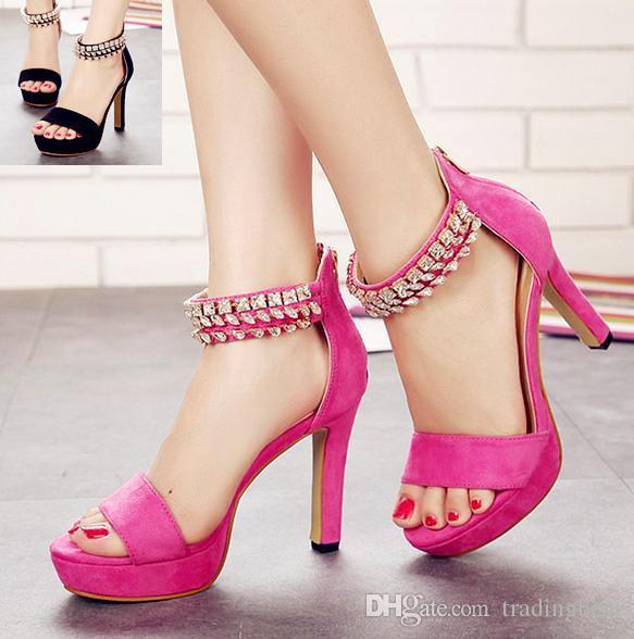 Rose Pink Rhinestone Sandals Wedding Shoes Thick High Heel ...