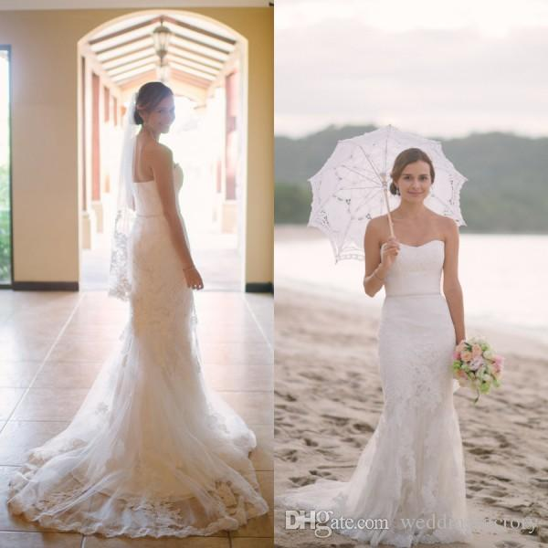 2016 Elegant Beach Wedding Dress Mermaid Style Soft Sweetheart Neckline Sleeveless Vintage Lace Appliques Bridal Gowns With Sweep Train
