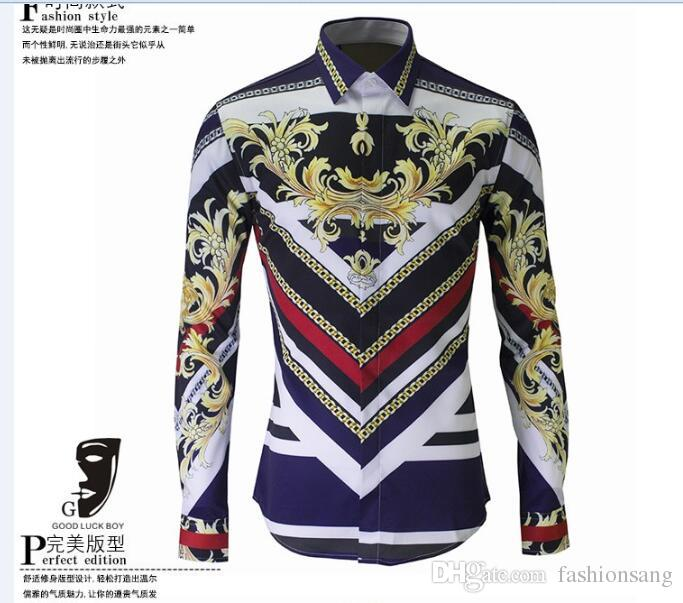 2017 New Mens Designer Brand Long Sleeve Plus Size Shirt