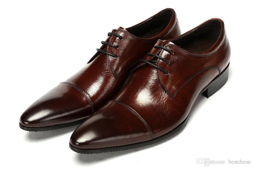 high quality brand black brown mens businss shoes