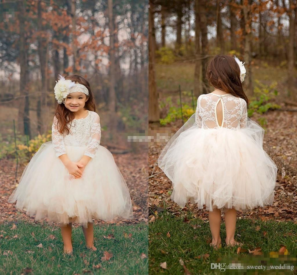Cute Ball Gown Boho Country Wedding Flower Girl Dresses