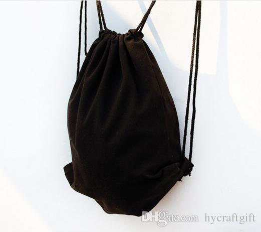 Eco Black Canvas Drawstring Backpack Blank Plain Organizer ...