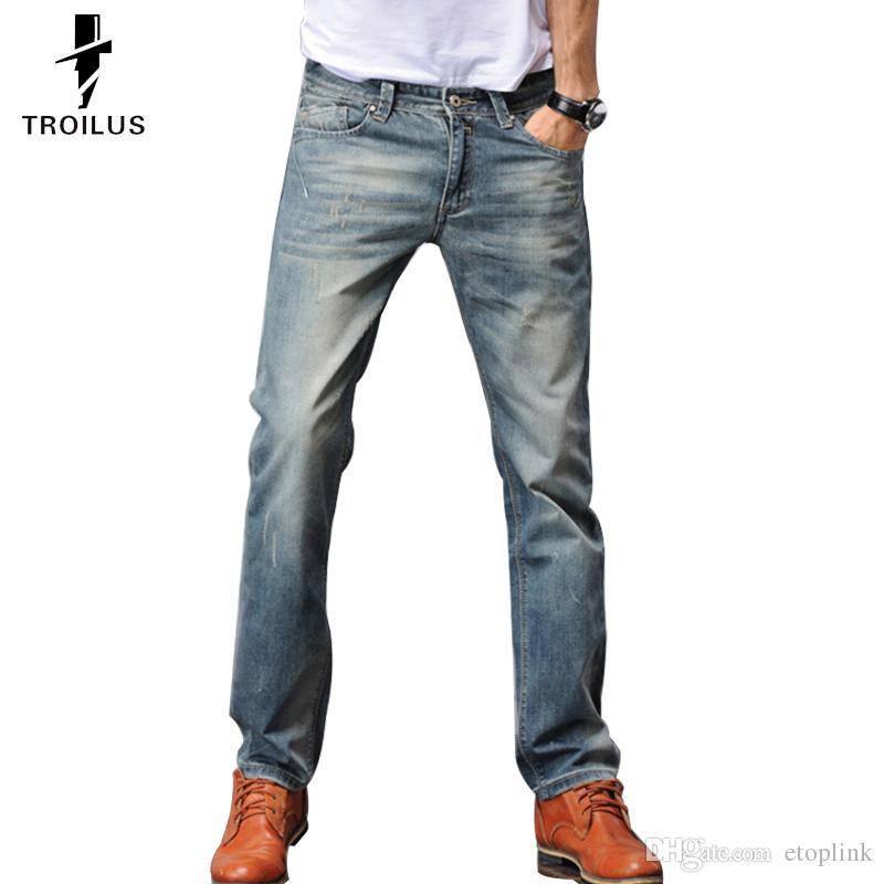 Troilus Fashion Men Jeans Uniquelim Fit Straight Skinny Jeans