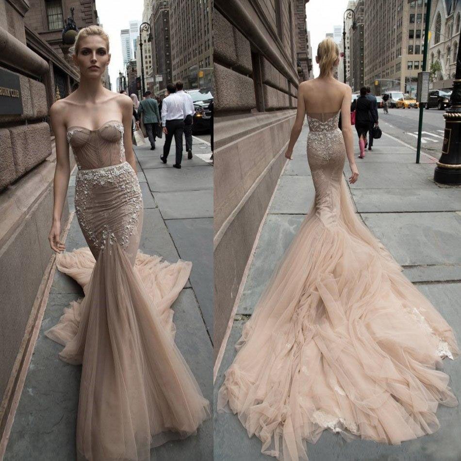 Beautiful Lace Trumpet Wedding Dresses Crystal Flower Sweetheart ...