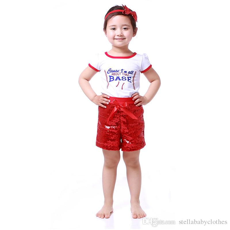 2017 Summer Sequined Girls Clothing Set Short Sleeve Baby Girls Outfit Toddler Outfit Sport ...