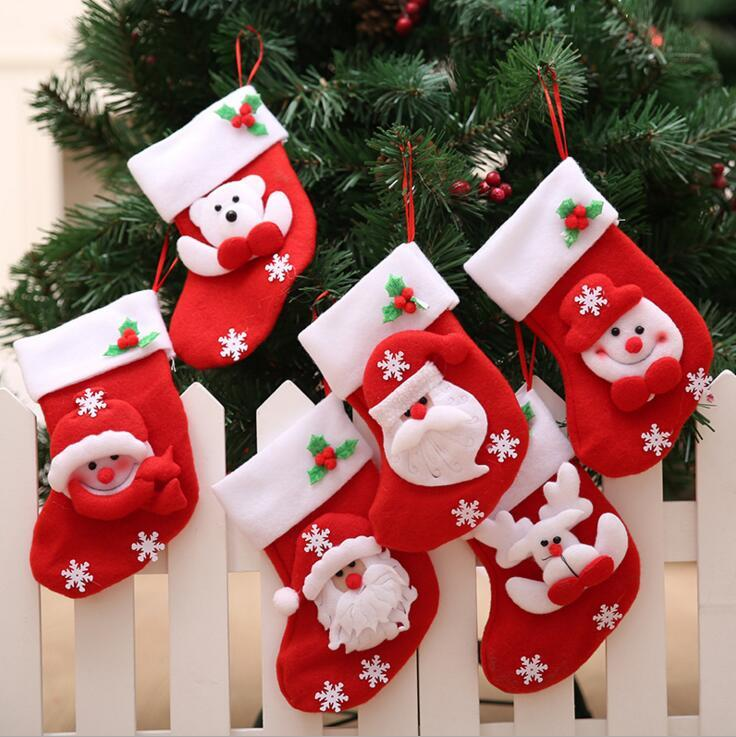 Cute Mini Christmas Stockings New Year Gift Bag Stocking Hanging ...