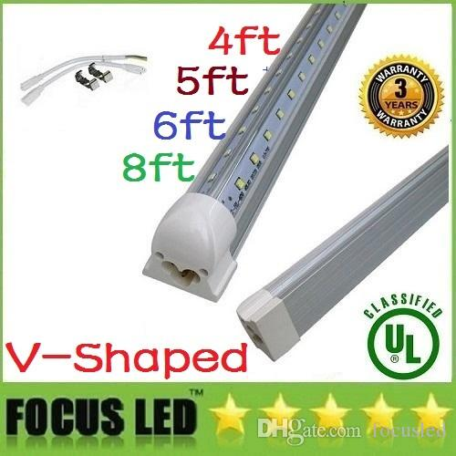 Stock En US + en forme de V Tubes Led T8 Light Intégré 4ft 5ft 6ft 8ft Cooler Li