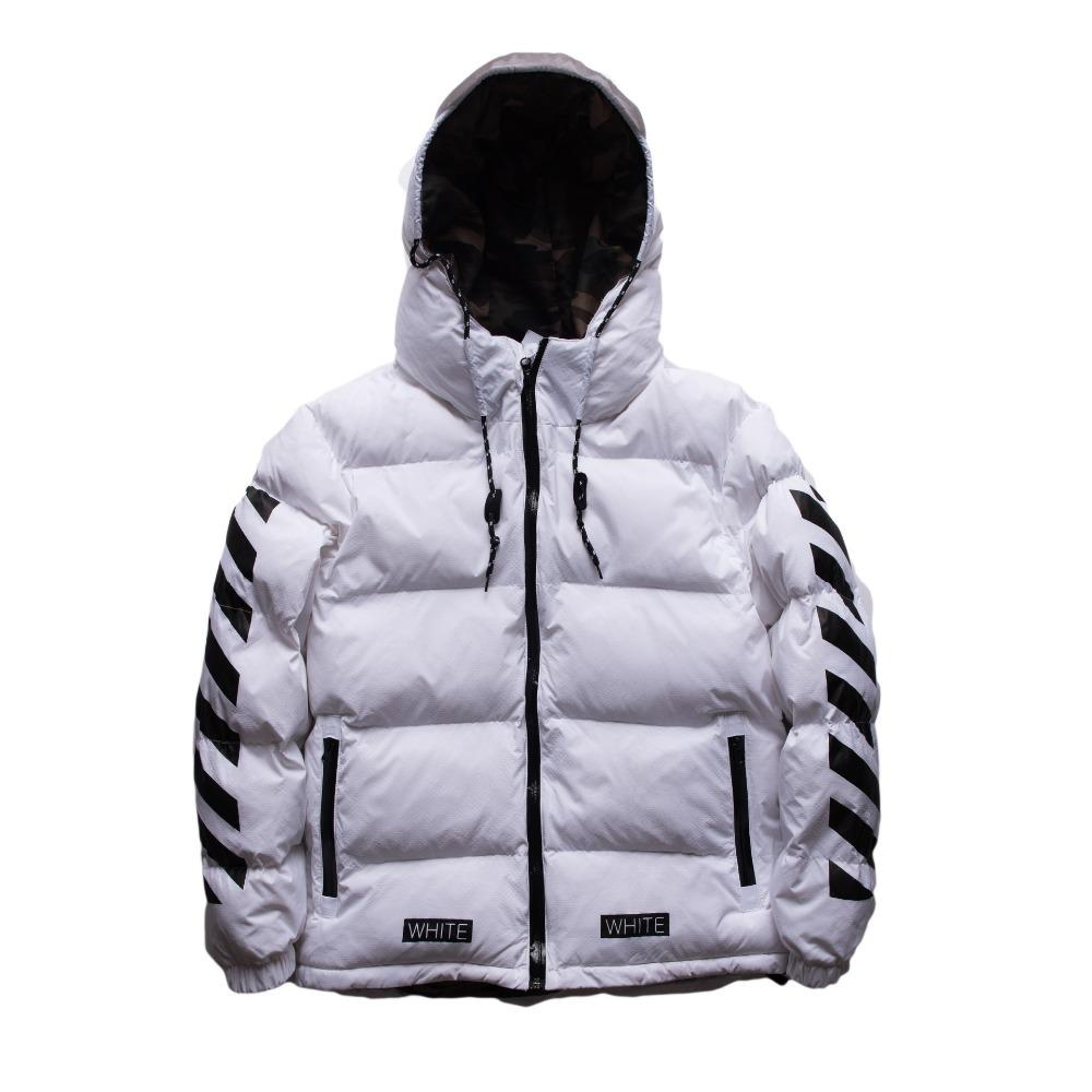 OFF WHITE Winter Men Parkas Jacket Hooded Coat Mens Winter Jackets ...