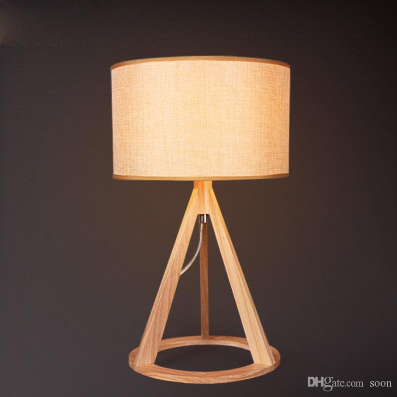 2016 Northern European Ikea Study Wooden Table Lamp Modern Living Room Bedroom Bedside Table