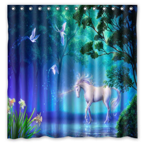 2017 fantasy unicorn horse tree magic flo fantasy design for Fantasy shower curtains