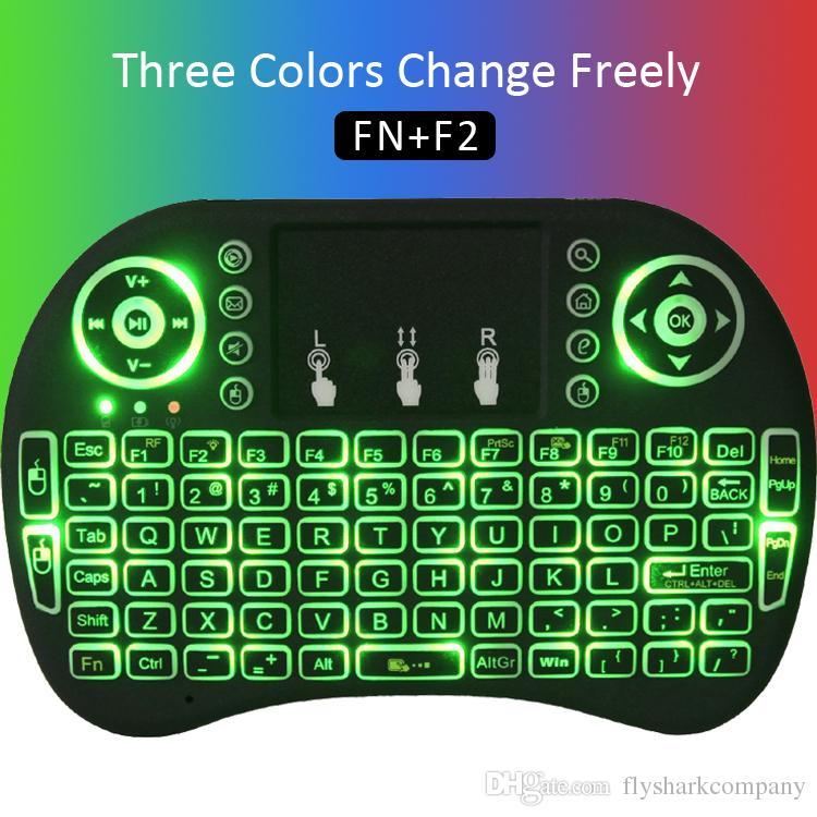 Rii I8 2.4GHz souris sans fil claviers de jeux rétro-éclairage blanc multicolore télécommande rétro-éclairée pour S905X S912 TV Android Box T95 X96