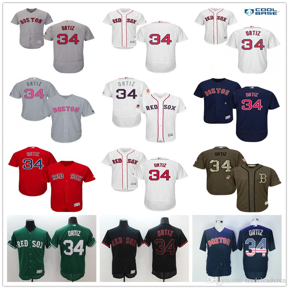 Boston Red Sox # 34 David Ortiz Bleu marine Drapeau des États-Unis Gris Rouge No