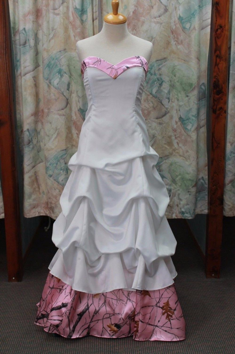 Discount Pink Camo Dresses Wedding Sweetheart Neckline