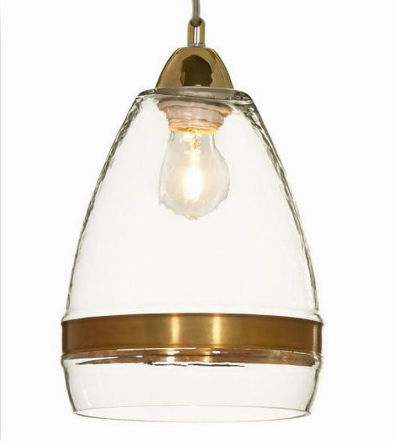 Clear/Antique Gold Glass Pendant Lamp For Kitchen Lights