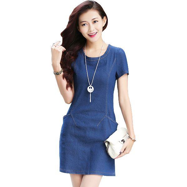 2016 Summer Style Denim Dress Short Sleeve Plus Size Women Denim ...