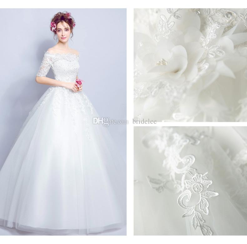 cheap elegant off shoulder wedding bridal gowns ball gown half sleeves