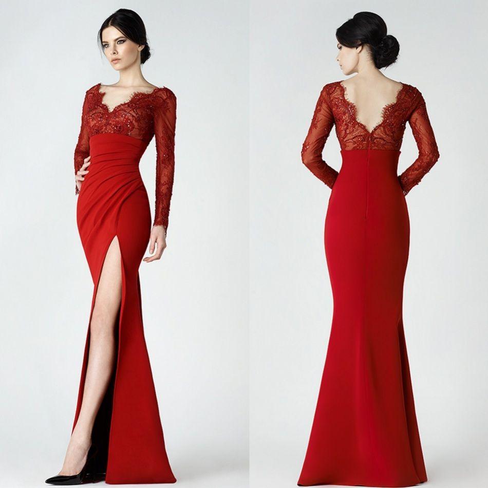 Red Saiid Kobeisy Split Dresses Evening Wear Mermaid Lace V Neck ...