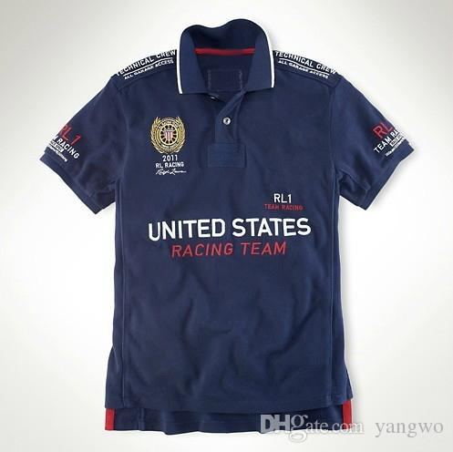USA Navy RL Racing Polo T-Shirts Pour Hommes Coton Broderie Big Pony Grande-Bret