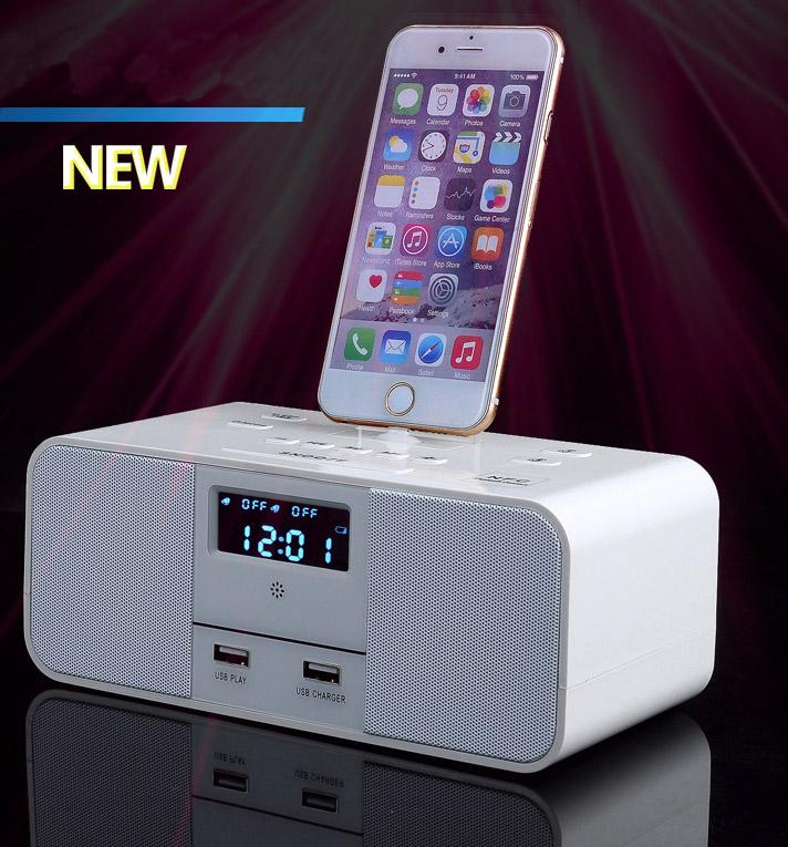 lcd digital fm radio dual alarm clock dock charger station bluetooth speaker for iphone 5 5s 6. Black Bedroom Furniture Sets. Home Design Ideas
