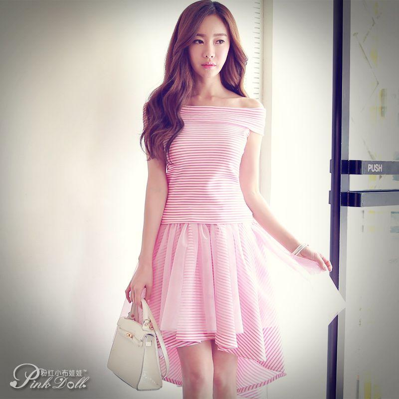 Sweet Striped Hi-Lo Dresses