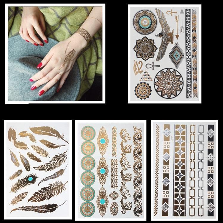 gold silver metallic tattoos necklace bracelet flash jewelry tattoos sparkle shine temporary. Black Bedroom Furniture Sets. Home Design Ideas