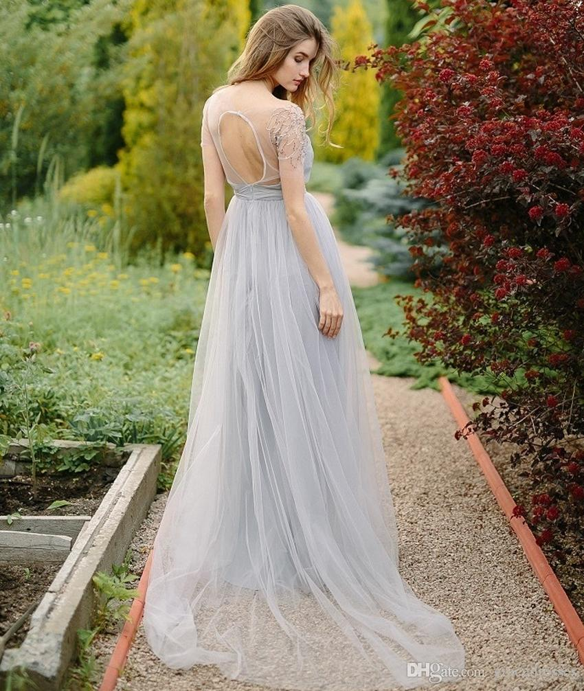 Discount light purple wedding party dresses keyhole back a for Light colored wedding dresses