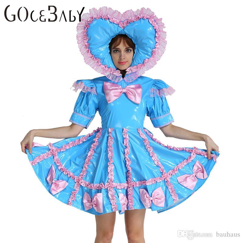 Custom Made Adult Baby Sissy Maid Lockable PVC Sweet Heart Blue Dress  Uniform Crossdress Cosplay Costume - Custom Made Adult Baby Sissy Maid Lockable PVC Sweet Heart Blue