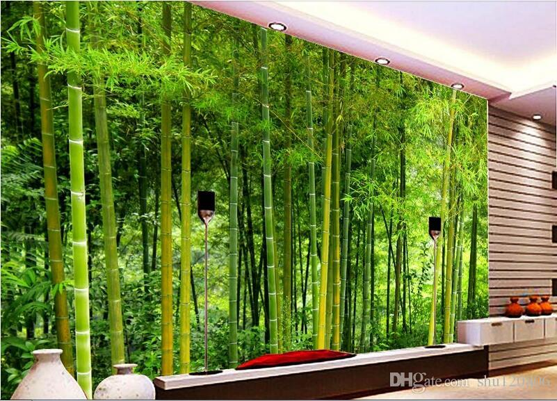 3d room wallpaer custom mural non woven photo fresh bamboo for Bamboo mural wallpaper