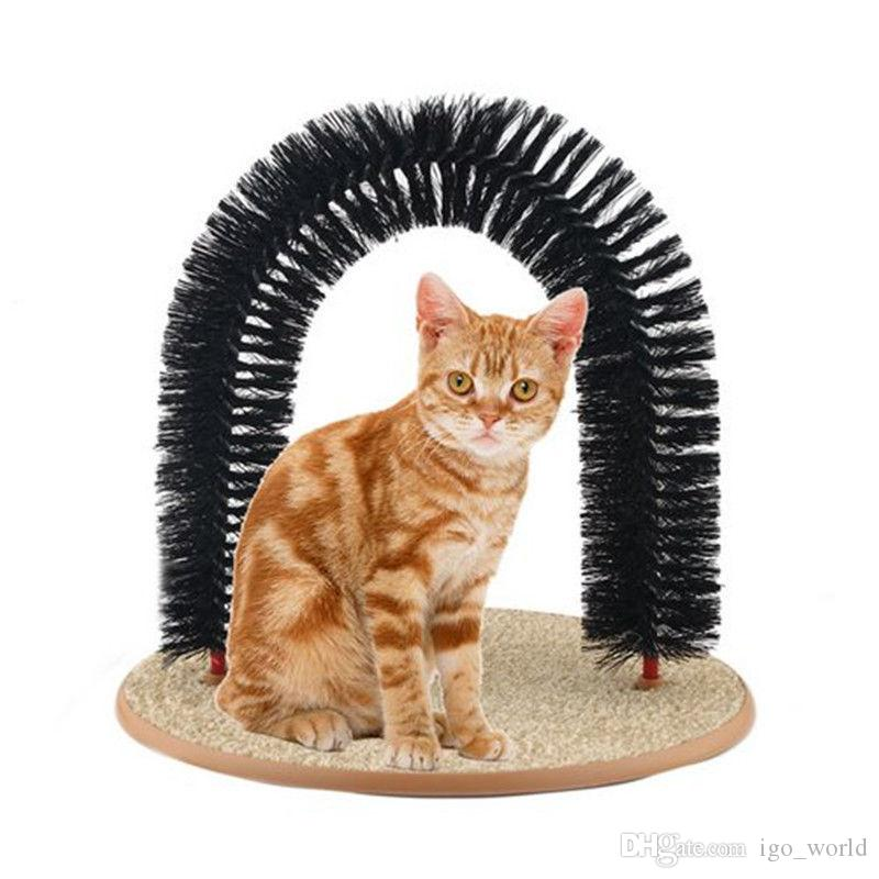 DHL Purrfect Arch Self Groomer Scratching Base Deshedding Tool Cat Kitten Grooming Arch Catnip Toy For Cat Small Dog