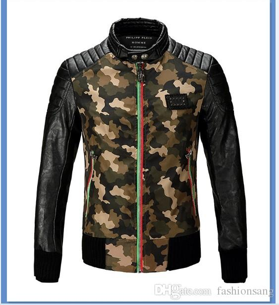 Hot High Quality Mens Designer Brand Leather Camouflage