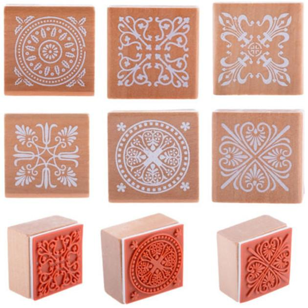 Vintage flower lace wooden rubber stamp seal square diary for Rubber stamps arts and crafts