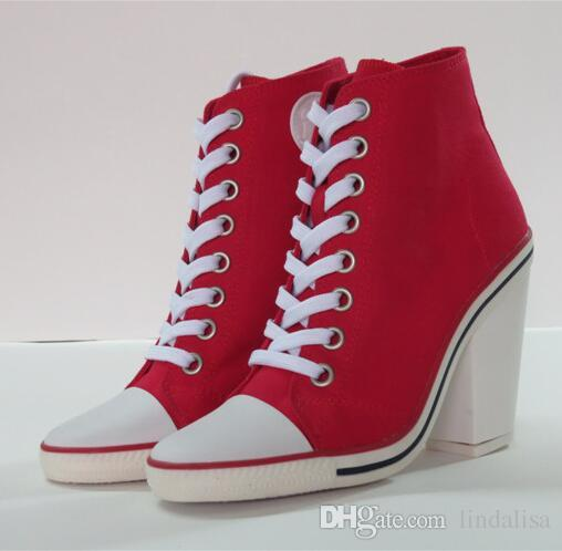 Ash Women'S Canvas Ankle Boots Sneakers Red Canvas Thick Heel Lace ...