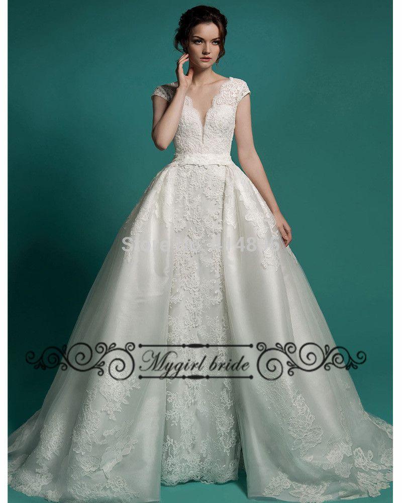 Detachable skirt wedding dress 2017 new design lace for Wedding dress detachable skirt