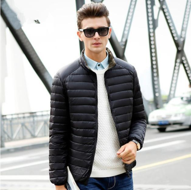 Sided Wear Thin Down Jacket Men Short Paragraph Collar Big Yards ...
