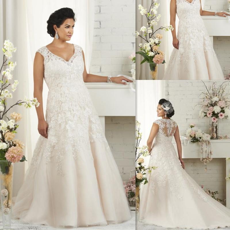 Discount plus size wedding dresses 2016 lace appliques v for Best wedding dresses for short fat brides