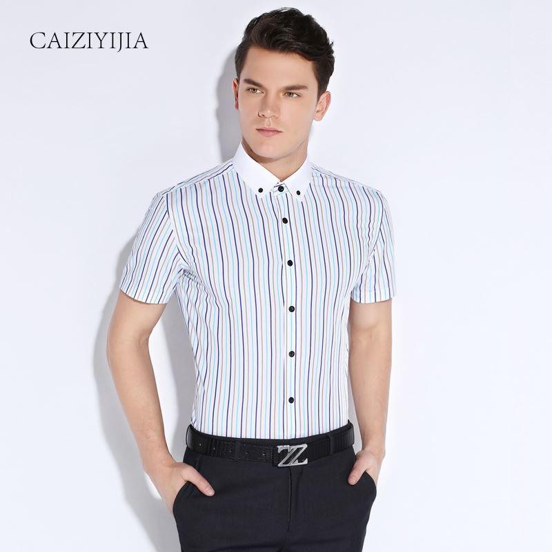 Summer 2016 Men Short Sleeve Colored Vertical Striped Dress Shirts ...
