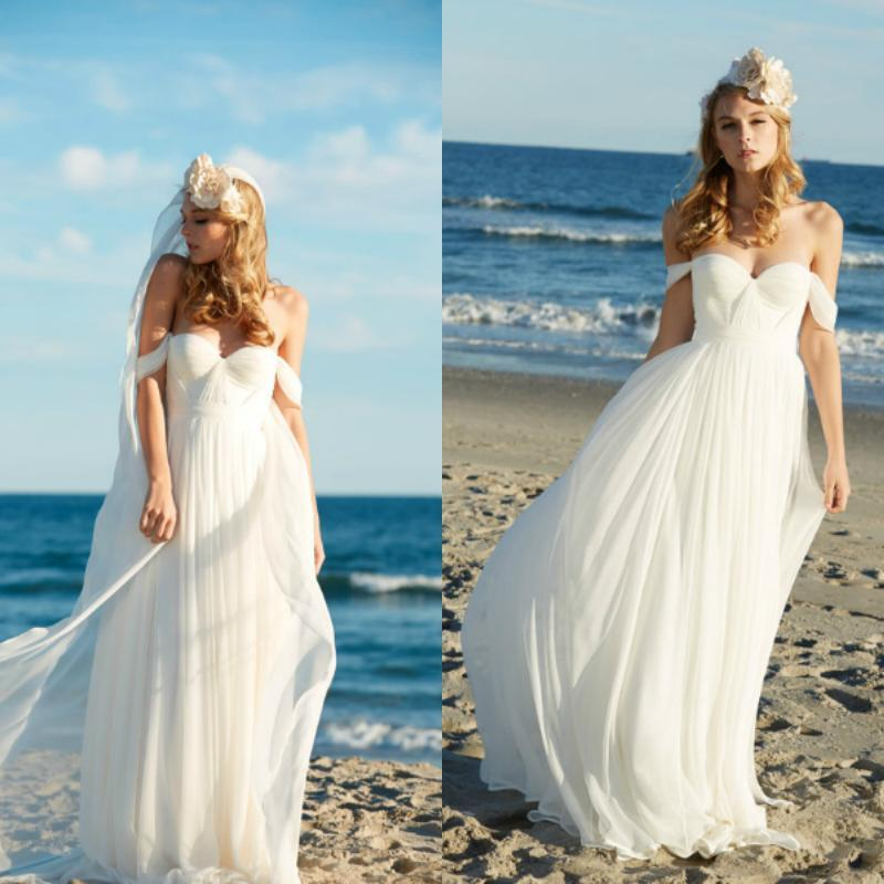 Discount Beach Wedding Dresses 2016 White Chiffon Off The Shoulder Ruched Bridal Gowns Simple