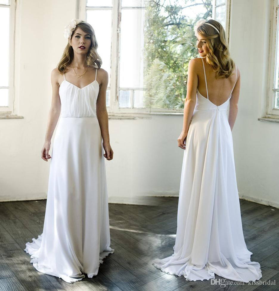 2016 boho white plain wedding dresses with spaghetti for Plain wedding dresses with straps