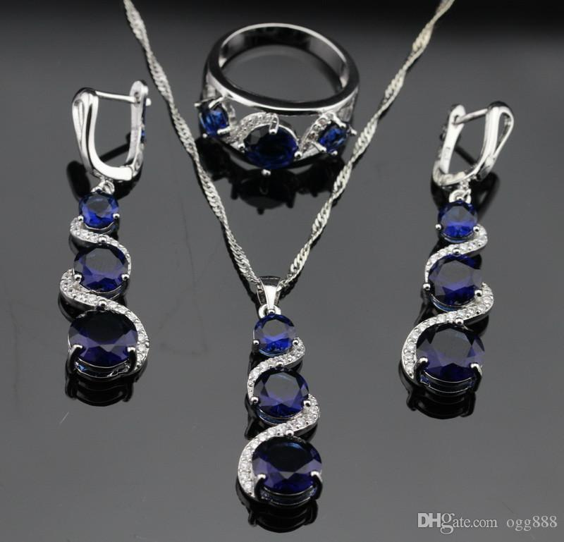 2016 Hot New Blue Sapphire Jewelry Sets For Women 925 Sterling Silver Necklace Pendant Earrings