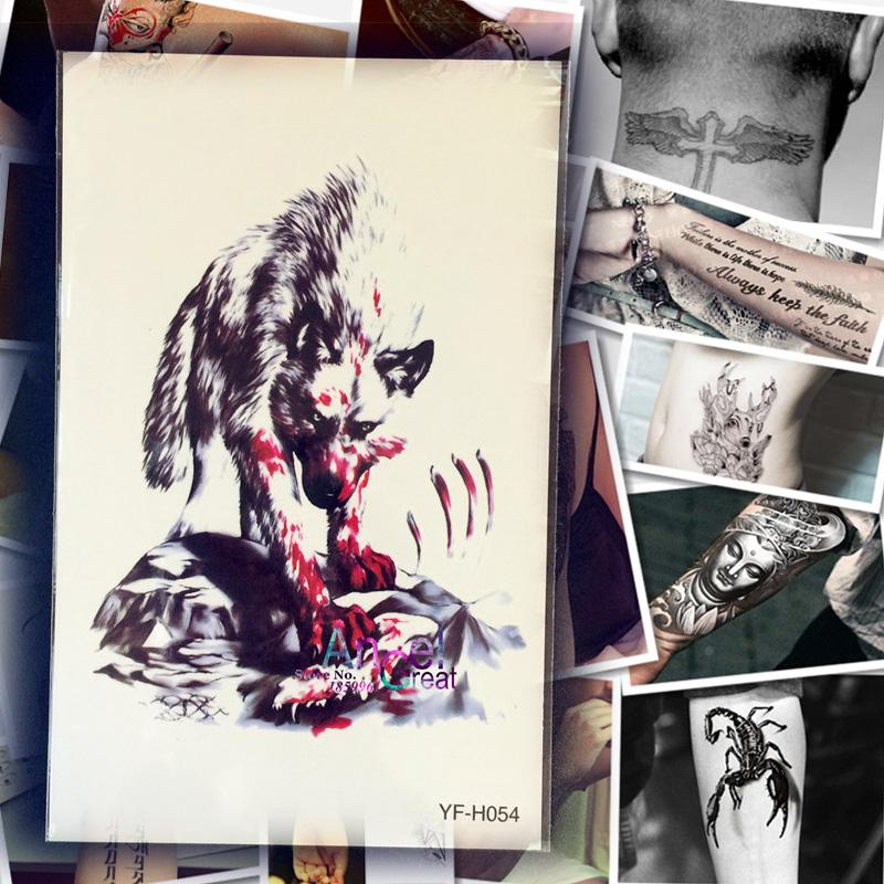 Wholesale waterproof large monster tattoo fierce wolf for Wholesale temporary tattoos