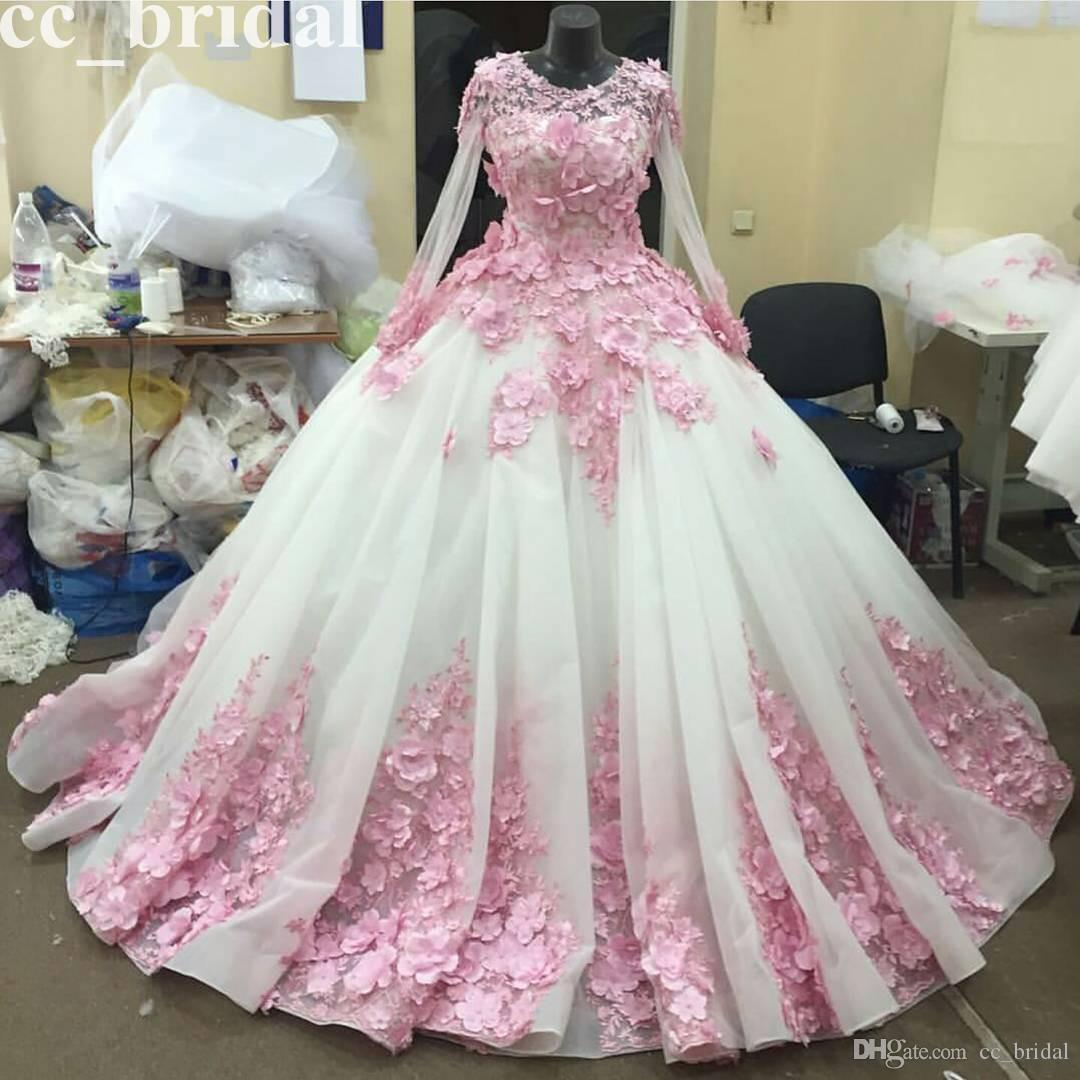 2016 Pink Flowers Ball Gown Wedding Dresses Scoop Tulle