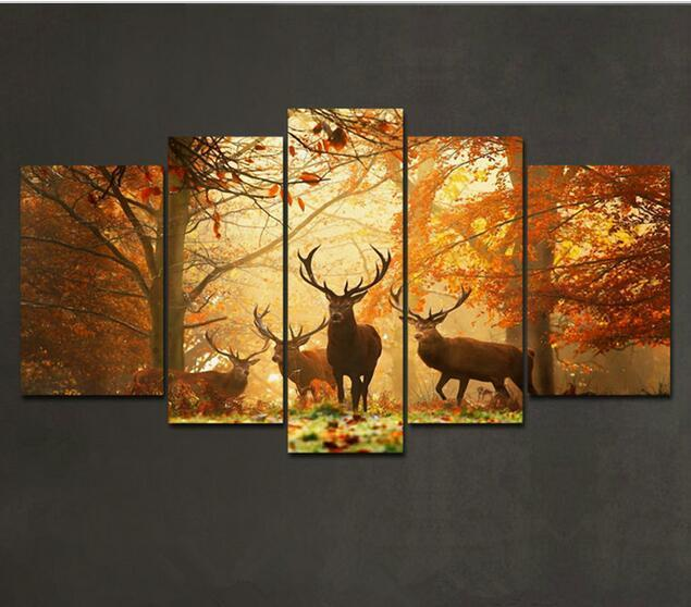 2017 deer pattern oil painting wall art picture modern for Wall art painting ideas for bedroom