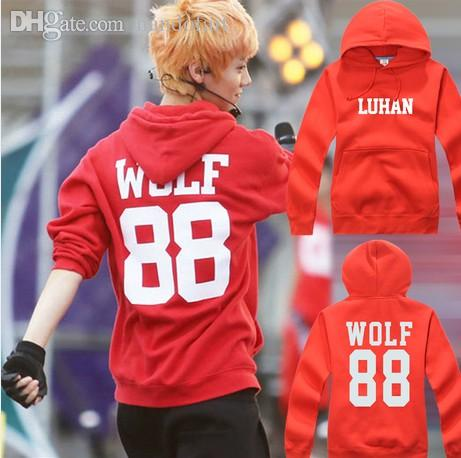 Best Wholesale Exo Red Coat Wolf From Planet Kris Luhan Sehun Chan