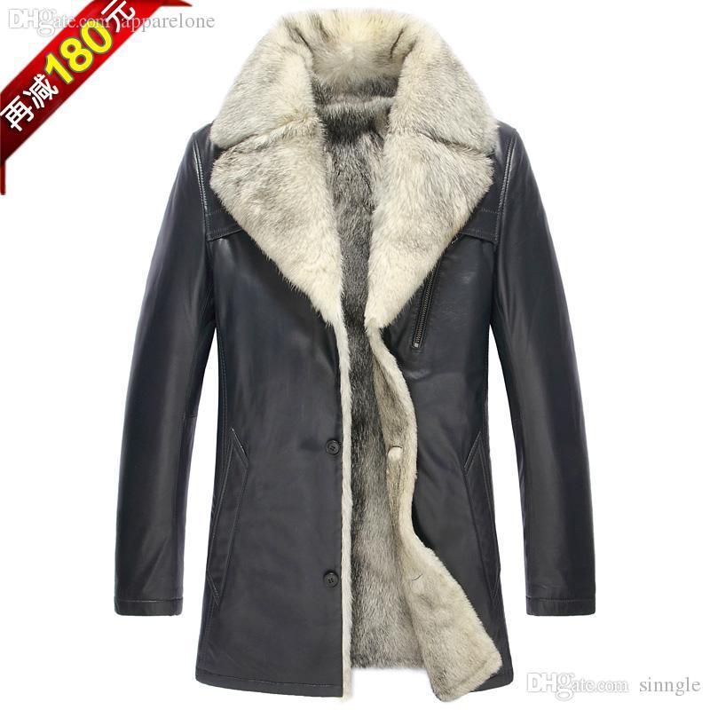fall-luxury white fur inside jackets wholesale plus size men