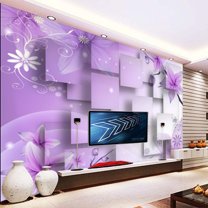 Purple luxury custom modern 3d wall murals silk waterproof for Purple bedroom wallpaper