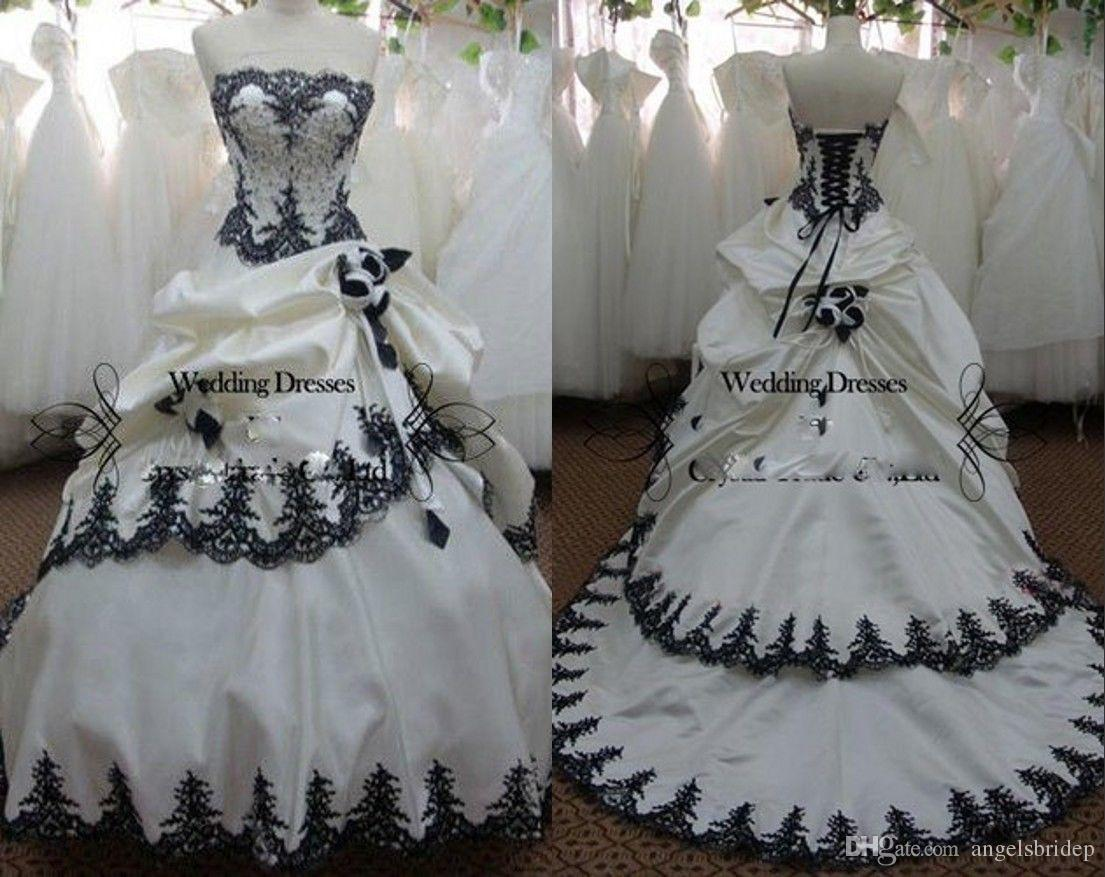 Black And White Gothic Ball Gown Wedding Dresses Strapless