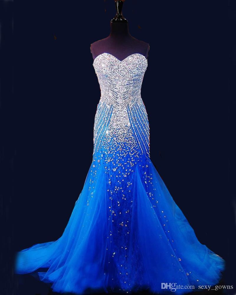 2016 Royal Blue Mermaid Prom Dresses Beaded Special Occasion ...