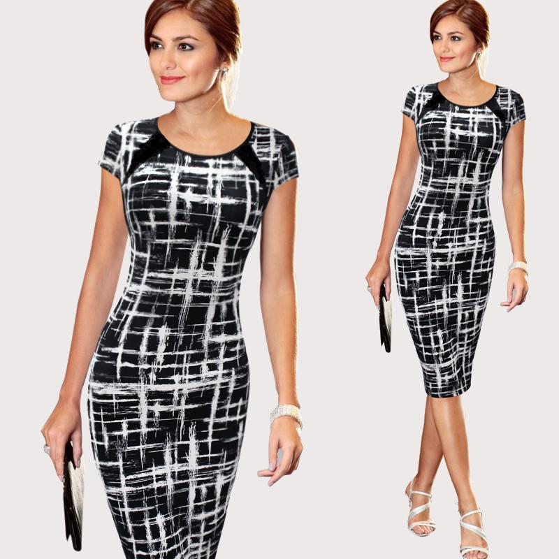 New Style Print Pencil Dress For Women Slim Short Sleeve O-Neck Bodycon Robes We