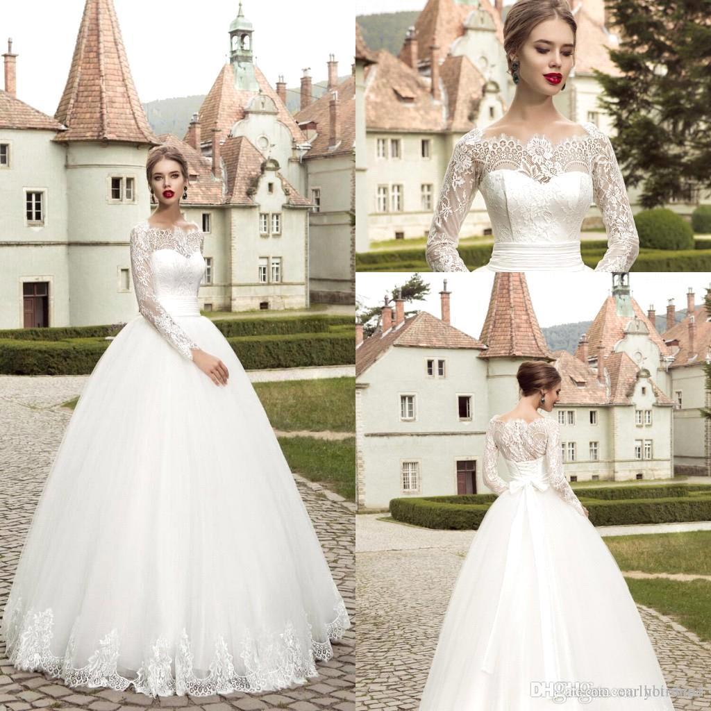 Vestidos De Novia Elegant Long Sleeves Lace White Tulle